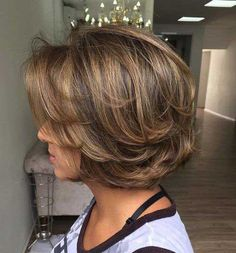 If you can't decide between long hair and short hairstyle, those Super Haircuts for Short Hair will definitely solve your dilemma! Short hairstyle is every. Short Hairstyles For Thick Hair, Haircut For Thick Hair, Short Hair With Layers, Hairstyles Haircuts, Wavy Hair, Short Hair Cuts, Hairstyles For Older Women, Layered Haircuts For Medium Hair, Short Stacked Hair