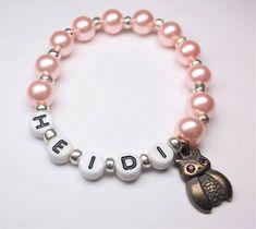 Owl name bracelet girls beaded name bracelet with an Owl charm