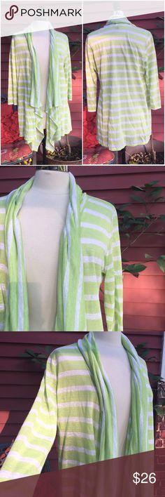 💞New Listing💞J. Jill striped linen cardigan top Size medium. Green striped open cardigan sweater. 100% linen. EUC J. Jill Sweaters Cardigans