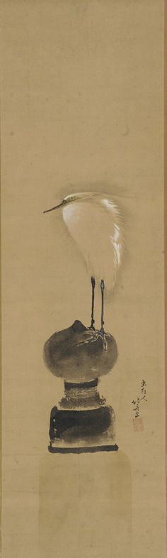 Egret on a Bridge Post ca. 1801-1802  Katsushika Hokusai , (Japanese, 1760-1849)  Edo period   Ink and color on paper H: 85.7 W: 25.5 cm