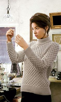 626ad46ce2e63 Honeycomb Sweater by Pierrot - English and Japanese versions Cable Chart