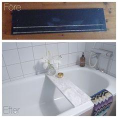Idag var det dags för ett nytt badkarsbord! Det jag har använt mig av är; -lådfront från ikeas fyndavdelning -sax -dekorplast i marmor från bauhaus -såpavatten på ytan innan plasten så att…