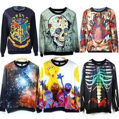2015 Autumn Winter Women Men 3D Hoodies Pullovers Sweatshirts Sudaderas Harajuku Galaxy Top Skull Tiger Print Harry Potter Space
