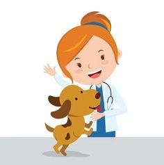 Ilustración vectorial de un veterinario de señora atractiva con un lindo cachorro Foto de archivo - 83775182 Vet Pictures, Dachshund, Nurse Art, Vet Med, Nurses Day, Happy Art, Quilling Art, Cute Puppies, Toddler Girls