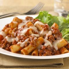 An easy skillet pasta recipe combining ziti pasta with ground beef and pasta sauce topped with mozzarella cheese.