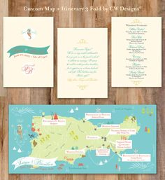 Chic Wedding Map with Itinerary, Wedding Map Invitation, Save the Date, Infographic -- Capri, Italy (5x7 Tri-Fold)