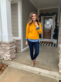 f144dc41bc Casual winter outfit with a chambray shirt and mustard yellow sweater   justpostedblog  ShopStyle