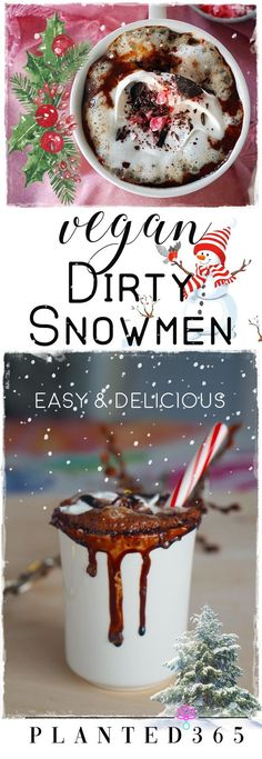 Vegan Dirty Snowmen is a hot chocolate treat at that's creamy, incredibly rich, decadently chocolatey, and made for adults with a splash of Baileys Almande. Best Hot Chocolate Recipes, Vegan Dessert Recipes, Delicious Vegan Recipes, Dairy Free Recipes, Whole Food Recipes, Vegan Sweets, Gluten Free, Thm Recipes, Drink Recipes