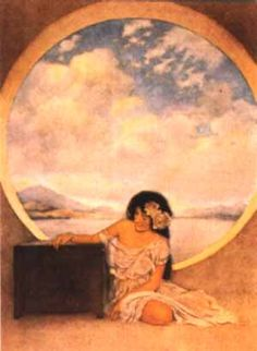 Design your own photo charms compatible with your pandora bracelets. Pandora, by Maxfield Parrish, from The Paradise of Children Nocturne, New Hampshire, Maxfield Parrish, Fairytale Art, Pre Raphaelite, American Artists, Illustrators, Pennsylvania, Fairy Tales