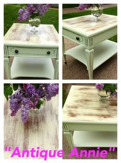 Antique Annie end table....distressed perfectly!  Stain over paint.
