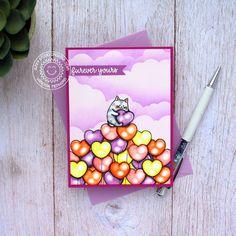 Cat Birthday, Birthday Cards, Valentine Day Cards, Valentines, Sunnies Studios, Studio Cards, Ink Splatter, Kitty Images, White Gel Pen