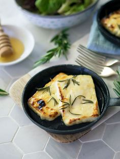 Grilled Halloumi with Honey and Rosemary - a simple dish to prepare and grill. The honey and rosemary enhances the halloumi brilliantly. This recipe is perfect with a crisp green salad. Easy Appetizer Recipes, Healthy Salad Recipes, Veggie Recipes, Brunch Recipes, Vegetarian Recipes, Savoury Recipes, Milk Recipes, Cooking Recipes, Delicious Destinations