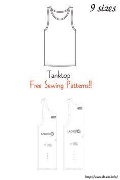 This is the pattern of a Tanktop. inch size(letter size) Children's-4,8,10/Ladies'-S,M,L,LL/Men's-L,LL cm size(A4 size) Children's-100,120,140/Ladies'-S,M,L,LL/Men's-L,LL