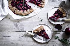 plum, thyme & olive oil galette with spelt pastry crust.   krissy o'shea photography//styling