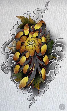 Japanese Flower Tattoo, Japanese Sleeve Tattoos, Japanese Flowers, Japanese Art, Japanese Dragon, Bild Tattoos, Irezumi Tattoos, Flor Oriental Tattoo, Tattoo Drawings