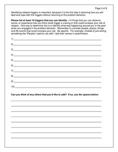Free Relapse Prevention Worksheets | Relapse Prevention - Drug ...