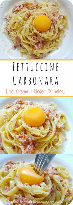 A beautiful Fettuccine Carbonara recipe based on its traditional roots, with a modern tasty twist. Creamy texture but no cream involved.