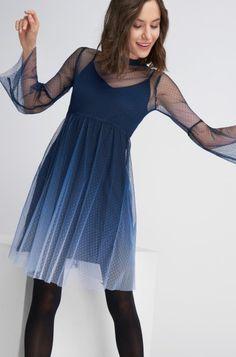 Stínované šaty s dlouhými rukávy