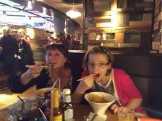 Jan and Rachel. Crispy duck noodles at Giraffe