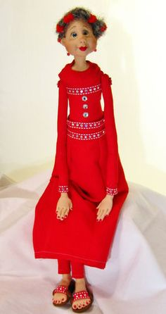 Ooak mixed media art dolls.  Grams can wear red, too!