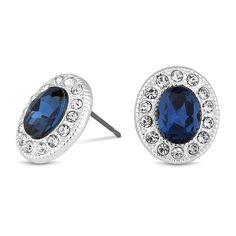 Jon Richard Blue oval crystal surround stud earring