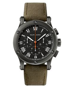 e2a9f4f45db1 Ralph Lauren Men s Safari Chronograph Watch with Brushed Steel Case and  Green Canvas Strap