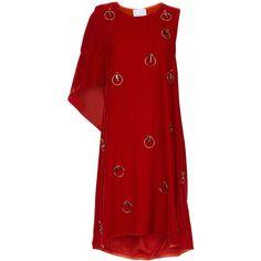 Koché Red Velvet Embellished Asymmetric Dress ($195) ❤ liked on Polyvore featuring dresses, embellished cocktail dress, velvet dress, sleeveless dress, ruched dress and asymmetrical dresses