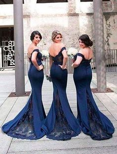 Gorgeous Off-the-shoulder Mermaid Long Navy Bridesmaid Dress/Prom Dress with TrainWant a glamorous red carpet look for a fraction of the price? This exquisite dress would be perfect as a bridesmaid dr..