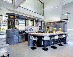 Interior Design: Stunning Modern Kitchen Design With Massive Glass Windows Also Sky Light Combine Half Round Mini Bar Table from Impressive Modern Bar Stools Design in Stunning Appearance