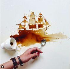 """A italiana Giulia Bernadelli usa para seus quadros uma tinta bem diferente: caf�! Em sua p�gina no Instagram, qualquer caf� derramado � motivo para criar pinturas detalhadas. """"Quando bebo caf�, eu penso nas nuances que posso criar se eu derrubasse a bebida na mesa"""", conta Bernadelli ao jornal """"Huffington Post"""". """"No caf� da manh�, consigo imaginar as pegadas deixadas por um gato que pisou na geleia"""""""