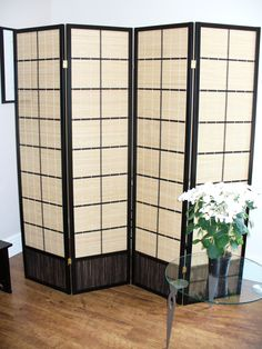 Matsu 4 panel Room Divider or Screen is a versatile addition to the home when wanting a little privacy when dressing or creating an office space. Brass hinges move both ways 4 Panel Room Divider, Room Dividers, Shoji Screen, Brass Hinges, Boho Room, Diffused Light, Create Space, Home Art, Interior Design