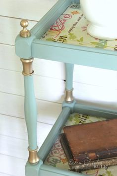 Thrifty Makeover with French Fabric Decoupage - Artsy Chicks Rule® Sanding Furniture, Decoupage Furniture, Chalk Paint Furniture, Hand Painted Furniture, Repurposed Furniture, Shabby Chic Wall Decor, Shabby Chic Furniture, Furniture Decor, House Furniture