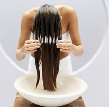 Once a week: Heat olive oil/coconut oil and honey to boil. cool then comb through your hair to help your hair grow faster and make it super smooth.  Need to try this!!