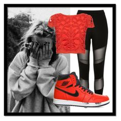 """""""Red and Black"""" by carenza-spence on Polyvore featuring River Island, Alice + Olivia and NIKE"""