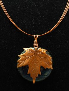 Copper Leaf Fused Glass by *FusedElegance on deviantART Metal Clay Jewelry, Fused Glass Jewelry, Fused Glass Art, Wooden Jewelry, Copper Jewelry, Mosaic Glass, Glass Pendants, Pendant Jewelry, Kiln Formed Glass