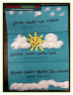 Types of clouds and simple facts.  Have kids paint the clouds with shaving cream and cut and paste the facts?