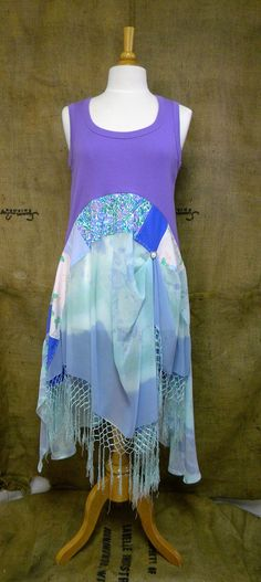www.facebook.com/chicshackconsignmentfurnishings Etsy: auntieschicshack  Lavender Blue.  Sheer silk crepe fringe.  revival boho shirt shabby chic hippie bohemian junk gypsy style mori girl lagenlook cowgirl country girl chic free people style anthropologie inspired coachella music festival shirt romantic tunic dress patchwork beach antique lace floral ren fair plus modest resort earthtones woodland nymph lake hankie hem hi low butterfly vintage retro lace