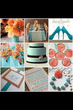 Coral turquoise and yellow