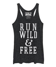 Look what I found on #zulily! Heather Black 'Run Wild & Free' Racerback Tank #zulilyfinds