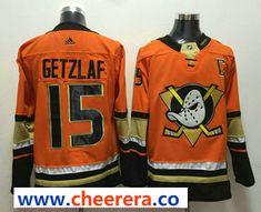 e72841e9005 Men's Anaheim Ducks Ryan Getzlaf Orange With C Patch Hockey Stitched NHL  Jersey