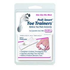 Toe Trainers - 2 Pack -   Reduce pain and friction associated with crooked, overlapping, and/or flexible hammer toes with this comfortable slip-on pad. Adjustable loop gently encourages proper toe alignment while a soft dual-layer cushion comforts the ball-of-foot area. Single and double toe straighteners are interchangeable for left or right foot.