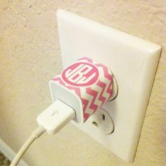 Print your free iPhone plug wrap here! You can choose your color and type in your own monogram!