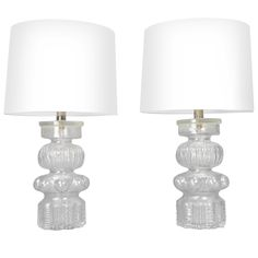 1stdibs   A Pair of Swedish Glass Lamps. Labeled Alsterfors Sweden