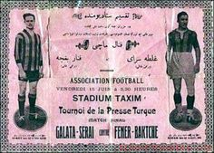 Ticket for the football match between Fenerbahce SK and Galatasaray SK in 1923, Taksim Stadium, Istanbul