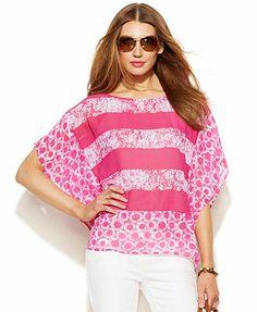 MICHAEL Michael Kors Kimono-Sleeve Printed Tunic