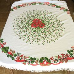 Round Christmas Tablecloth Vintage by RetroResaleSanDiego on Etsy #GotVintage #Vintage #Linens
