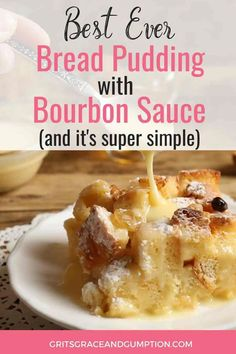 This bread pudding with bourbon sauce is based on one from the Bon Ton Cafe, a New Orleans restaurant famous for its amazing traditional bread pudding. Bread Pudding Sauce, Bourbon Bread Pudding, Best Bread Pudding Recipe, Pudding Recipes, Bread Puddings, New Orleans Bread Pudding Recipe, Easy Bread Pudding, Traditional Bread Pudding Recipe, Bread And Butter Pudding