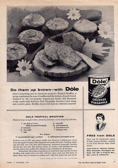 """What do you call a retro recipe that's a cross between muffins and quick bread? Bruffins. I found this recipe in a 1959 issue of Co-ed magazine. Co-ed billed itself as the magazine """"for girls and homemakers of tomorrow."""" RETRO. Definitely."""