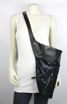 Foley + Corina Black Leather Suede Blue Snake Print Mega Moto Oversized Bag NWOT #FoleyCorina #ShoulderBag