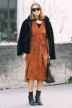ALL about suede dresses for fall, especially with leather ankle boots